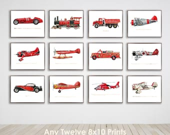 Collection of Twelve 8x10 vintage Transportation prints of your choice