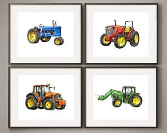 Colorful Farm Tractors - Watercolor Print Set