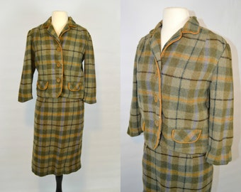 1950s Wool Green, Blue, And Yellow Plaid 2 Piece Suit by Sporteens