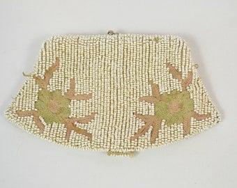 Vintage Seed Bead Coin Purse Clutch, Wristlet, Wedding, Bridal, Coin Purse, Glove Holder