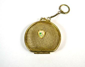 Vintage Gold Tone Metal Net Florida Souvenir Change/Coin Purse