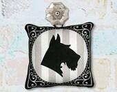 Dog Silhouette Ornament in Fabric - Schnauzer