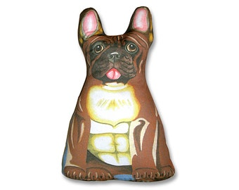 French Bulldog Brown and Black - Three Sided Stuffed Animal Pillow