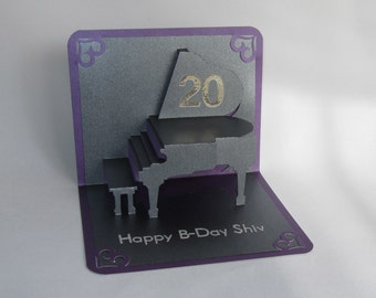 Happy 20th Birthday GRAND PIANO 3D Pop Up Card Home Decoration Handmade Handcut in Metallic Black and Metallic Purple CUSTOM Order for Alm.