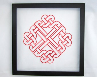 CELTIC Heart Eternity Love Knot Silhouette Paper Cut in Bright Red 1st Anniversary, Wedding Gift Wall Art Décor Hand cut OOaK