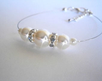Bridesmaid Bracelets set of 7 , Bridesmaids Gift, White Ivory Glass Pearl Bracelet, Bridal Jewelry