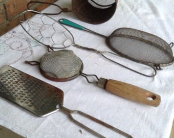 Vintage kitchen utensils, retro utensils, vintage strainer, tea strainer, flour sifter, cheese grater, mixed lot utensils
