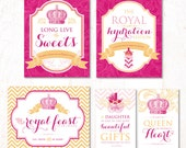 Royal Princess Baby Shower - Instant Download PRINTABLE Party Signs (Pink & Gold)