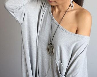 Light Grey Blouse Tunic Short Dress - Short Comfortable Long Sleeve Dress : Urban Chic Collection No.7