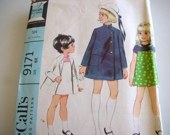 McCalls 9171 Girls Dress and Coat Size 6x Sewing Pattern 1968 with Original Instructions  A line Dress from The Back Part of the Basement