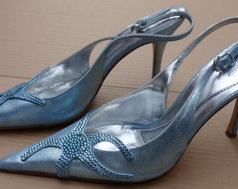 RODO Ice-Blue Leather and Crystal Pumps Sz. 39 1/2 Italy