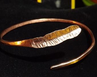 Dainty Copper Leaf Cuff Bracelet
