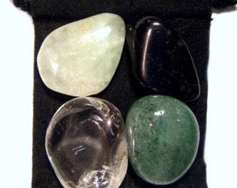 DEVIC ENERGY Tumbled Crystal Healing Set - 4 Gemstones w/Description & Pouch - Aventurine, Prehnite, Clear Quartz, Tourmaline