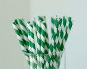 25 Emerald Green & White Striped Paper Straws - with Printable Mini Chevron Straw Flag PDF - Lemon Drop Shop