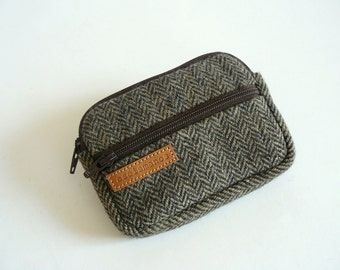 Retro brown spiga print wool fabric coin purse - wallet - Christmas gift -Gift for him -Gift for her -