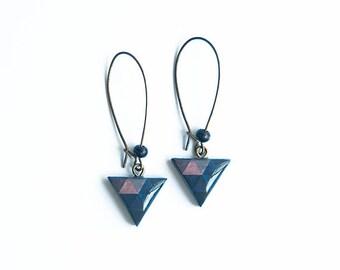 Navy blue triangle earrings, geometric jewelry, ohrringe, boucles d'oreille modern