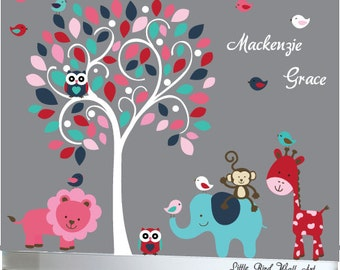 Pink, red, white and blues wall decal swirl tree with customized name and animals