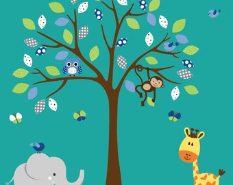 Childrens white tree wall decal jungle nursery set