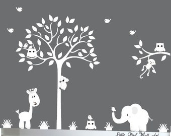 Wall decal tree, White tree decal, Silhouette tree decal, tree white wall decal, wall decal white, wall decal nursery, tree silhouette