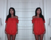 Vintage Red Off Shoulder Lace Bohemian Top XS to Med