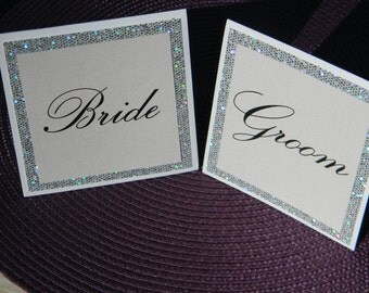 White and Bling Bride and Groom Cards or Reserved Signs