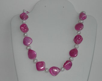 Pink MOP Shell necklace ( #462)