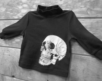 Baby Skull Tshirt - Rocker Baby - Upcycled Black Long Sleeve Shirt with Skeleton Applique - 9-12 Months