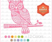 Instant Downloads, 12 Owls Clip Art, For Invitations Cards, Rubber Stamp Making, Handmade Project. Personal and Small Commercial Use.BP 0907