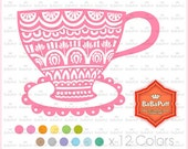 12 Tea Cups Clip Art, For Invitations Cards Making, Shower Invites, DIY Project, Personal and Small Commercial Use.BP 0916