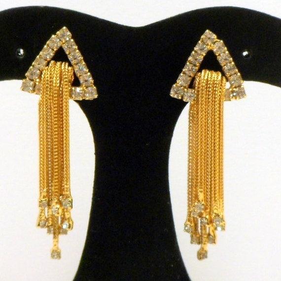 Vintage Crystal Rhinestone Waterfall Dangling Chain Earrings Gold Tone Clip Earrings
