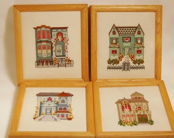 Victorian San Francisco Homes Cross Stitch Samplers Embroidery
