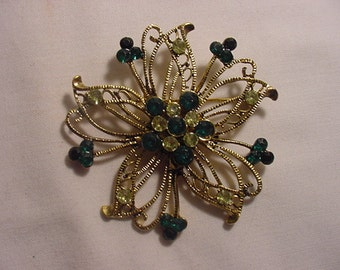 Vintage Green And Yellow Rhinestone Brooch    824