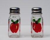Apple Glass Salt and Pepper Shakers Set of two Hand Painted  Country Kitchen design - they ship Priority Mail