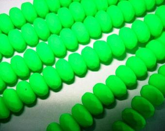 Czech glass firepolished neon green 4 x 7 mm donut beads