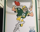Green Bay Packers QB Rodgers poster print