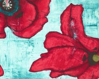 Poppy Remix - Big Poppy Aqua by Laura Gunn from Michael Miller