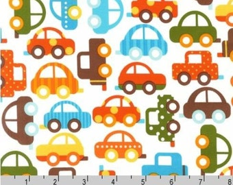 Ready, Set, Go! Bermuda Cars - Organic Cotton Fabric by Ann Kelle from Robert Kaufman