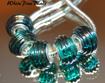 Teal MURANO Lampwork GLASS BEADS Fit European Charm Bracelet From WhitePineBeads c069