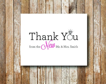 New Mr & Mrs Thank You Card - Printable File. Notecard. Thank You. Wedding Cards. Thank You Cards.