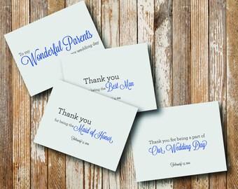 Wedding Party Thank You Card - Printable File. Notecard. Thank You. Wedding Cards. Thank You Cards.
