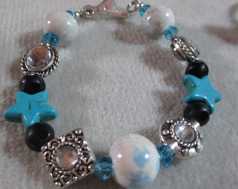 Stars Ok Themed Magnesite Stars and Sparkle Charm Bracelet