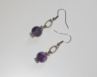Amethyst dangle silver earrings