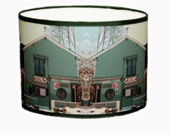 Drum lampshade for table lamp, green lampshade, lampshade for children's room, decorative lighting, custom lampshade, handmade lampshade