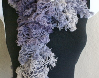 Ruffle lace shabby soft scarf hand knit Multicolored PURPLE +80 inches long