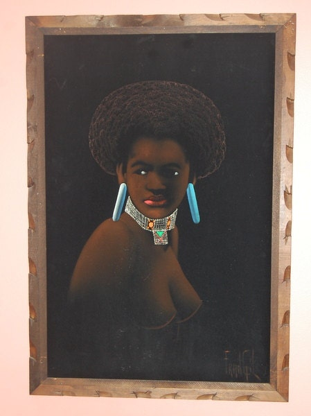 60S Black Velvet Nude Afro Painting Vintage Exotic Beauty Huge-4779