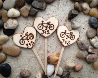 12 Bicycle Cupcake Toppers Personalized with YOUR Initials Wedding Engagement Bridal Shower Wood Heart 1 Dozen Bike Lovers Vintage Retro