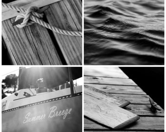black and white photography // nautical decor // nautical print art set // - set of black white art prints