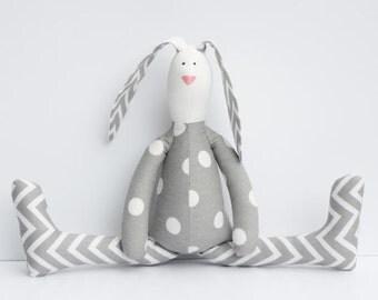 Stuffed bunny rabbit hare plush bunny white gray polka dots chevron cute softie stuffed toy baby shower birthday gift for boy girl