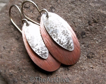 Recycled copper earrings with bark texture and antiqued sterling silver dangles