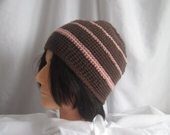 Hat Mens Brown and Pink Crochet Skater Snowboard Skullie Skull Cap Winter Hat